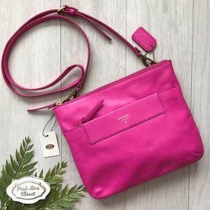 FOSSIL Amanda Crossbody Hot Pink Leather Bag NWT